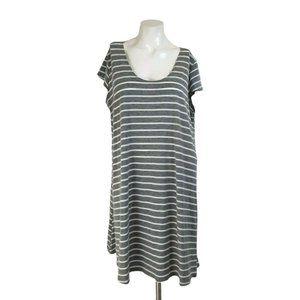 Vibe Sportswear Gray Striped Casual Shirt Dress